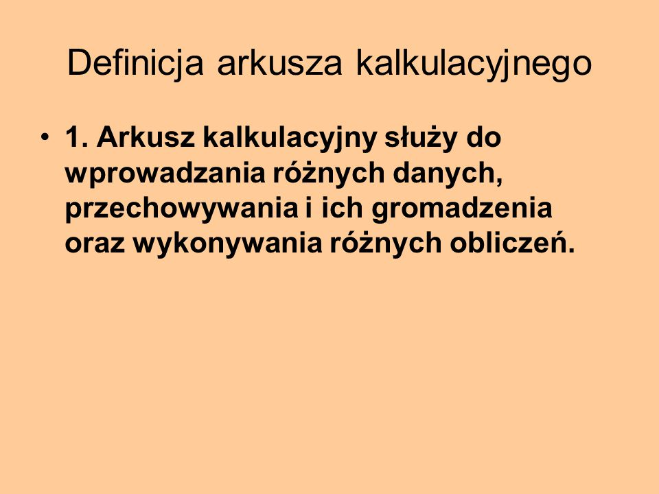 Definicja arkusza kalkulacyjnego