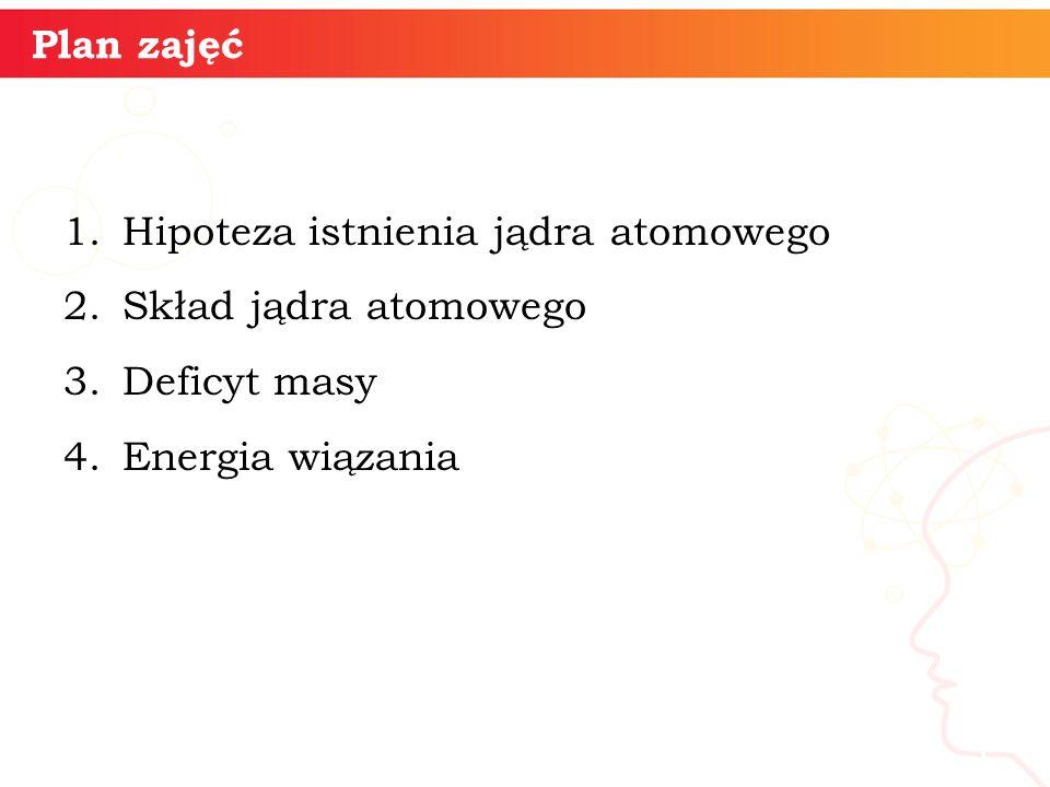 Plan zajęć Hipoteza istnienia jądra atomowego. Skład jądra atomowego. Deficyt masy. Energia wiązania.