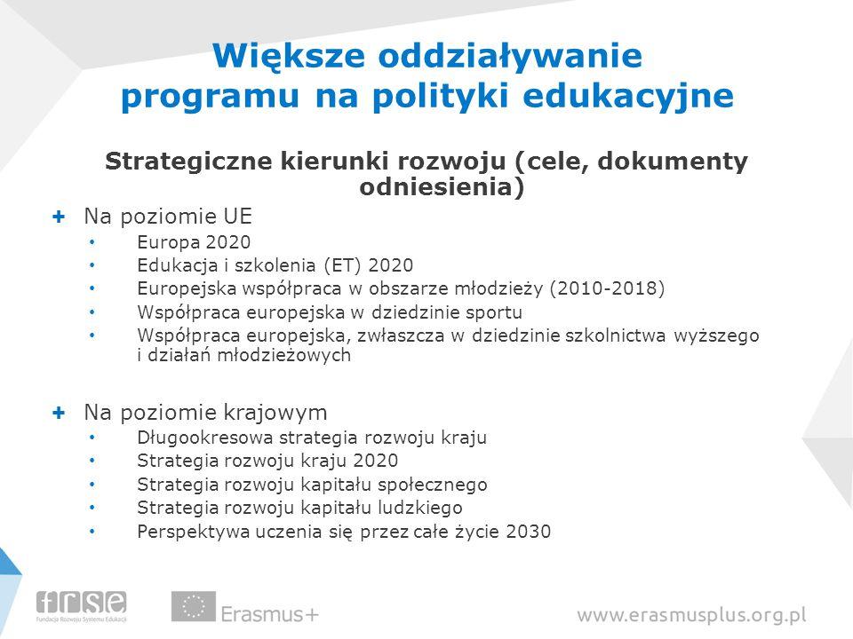 Większe oddziaływanie programu na polityki edukacyjne