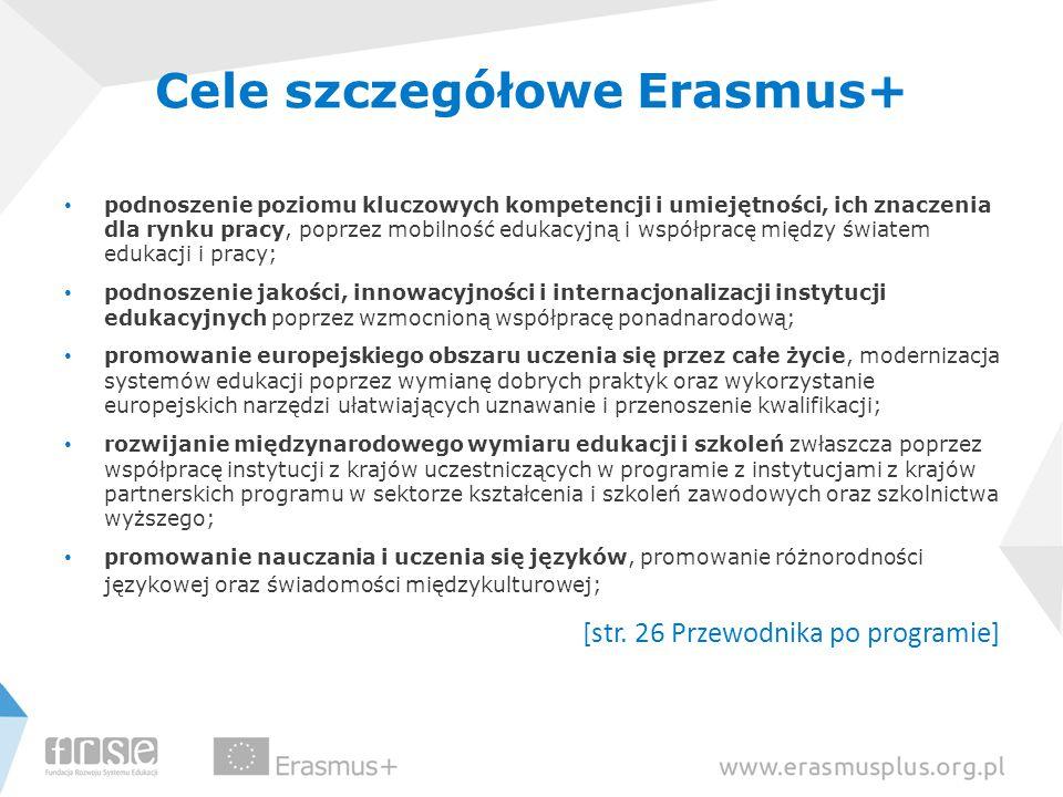 Cele szczegółowe Erasmus+