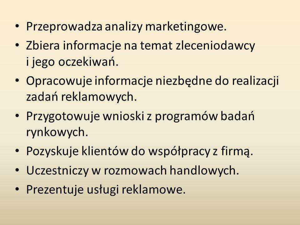 Przeprowadza analizy marketingowe.