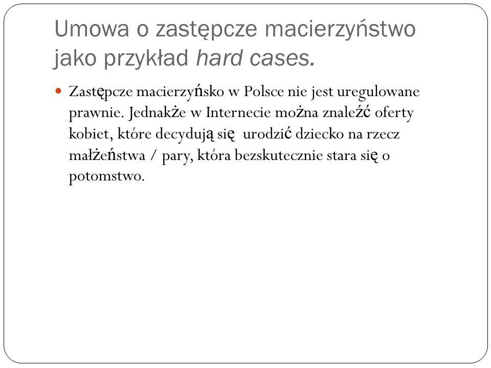 Umowa o zastępcze macierzyństwo jako przykład hard cases.