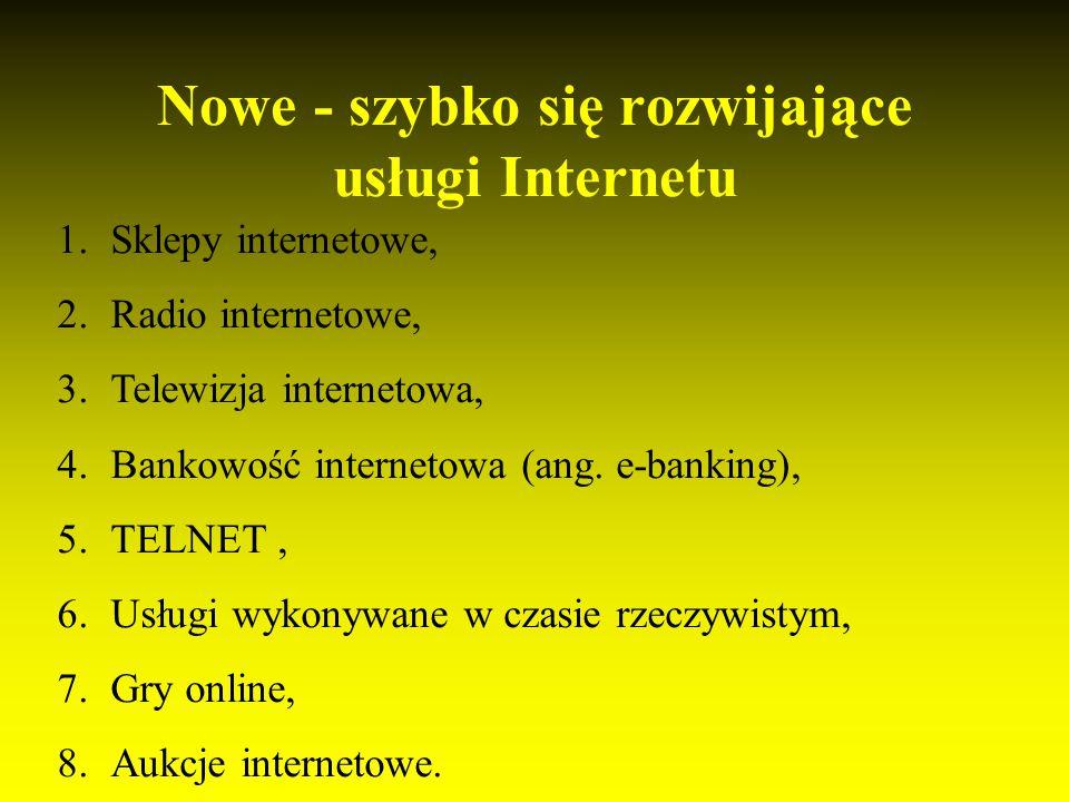 Nowe - szybko się rozwijające usługi Internetu