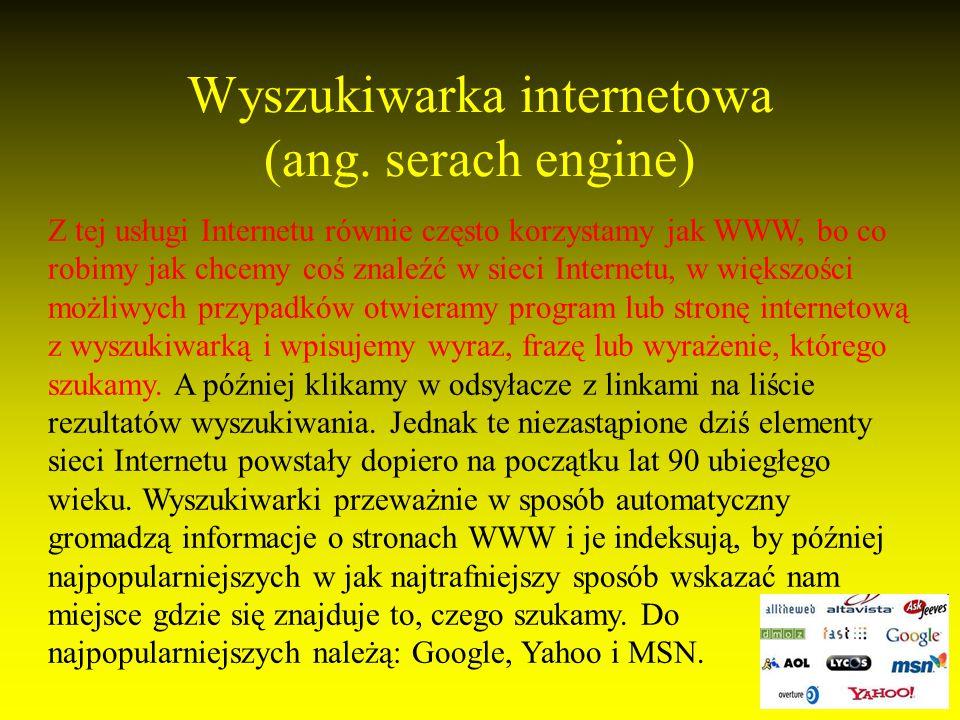 Wyszukiwarka internetowa (ang. serach engine)