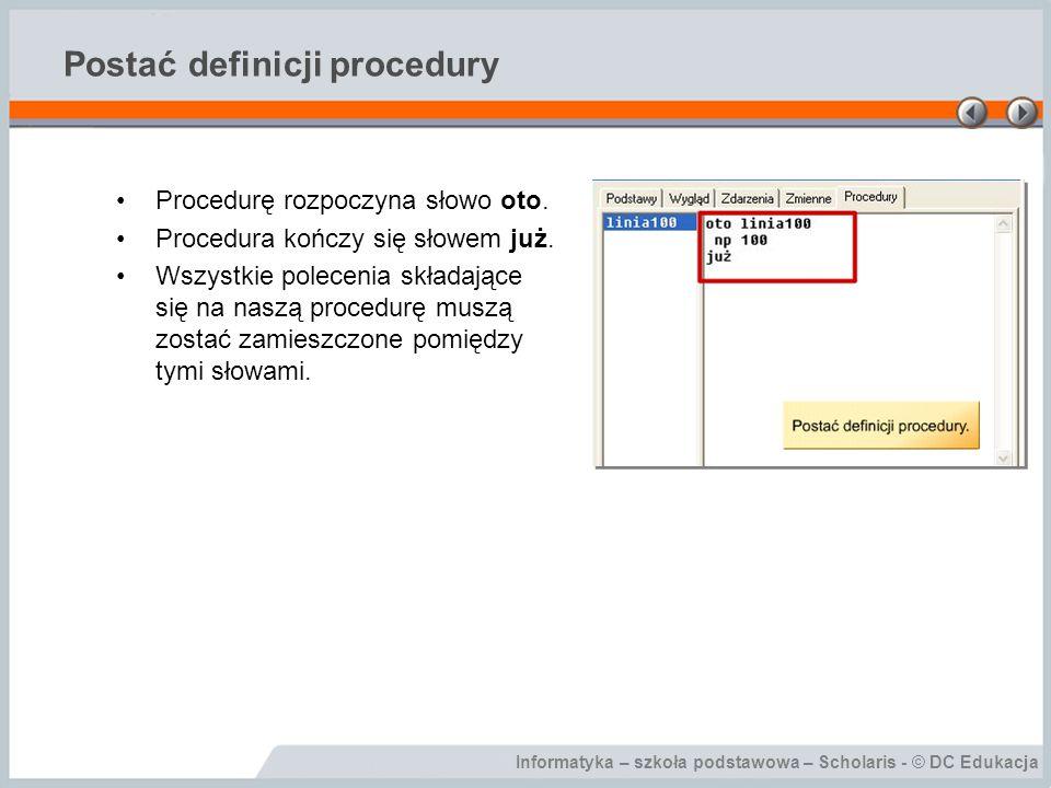 Postać definicji procedury