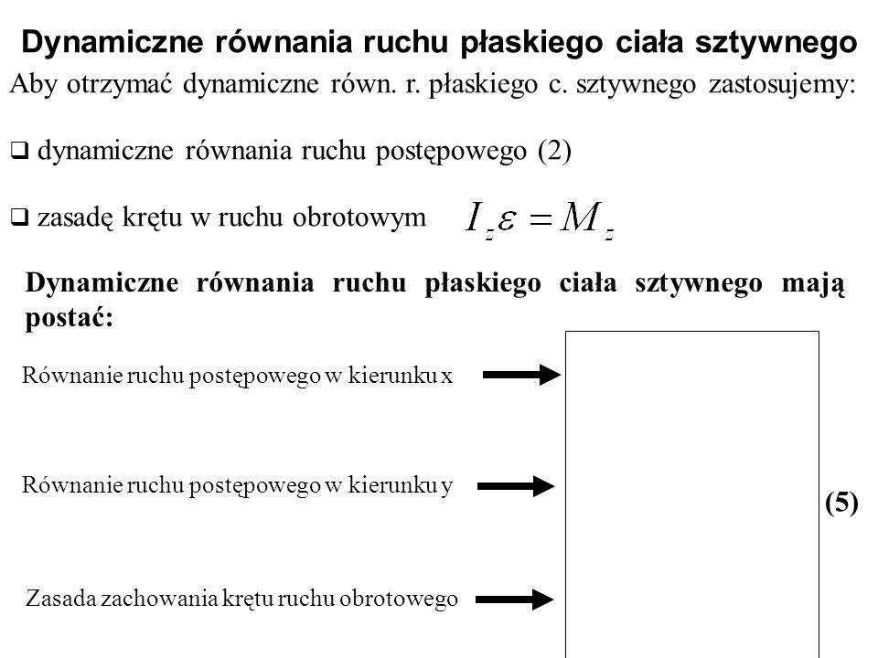 Dynamiczne równania ruchu płaskiego ciała sztywnego