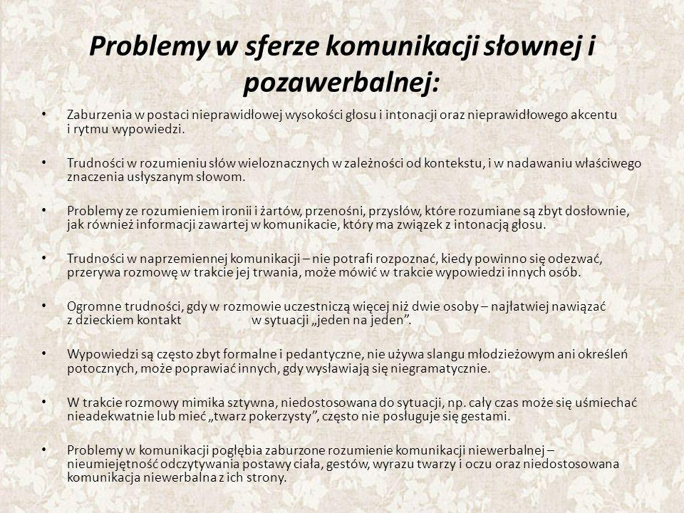 Problemy w sferze komunikacji słownej i pozawerbalnej: