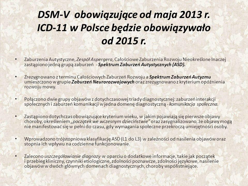 DSM-V obowiązujące od maja 2013 r