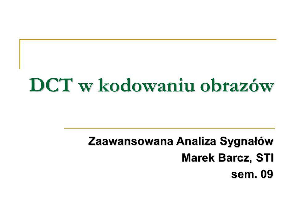 DCT w kodowaniu obrazów
