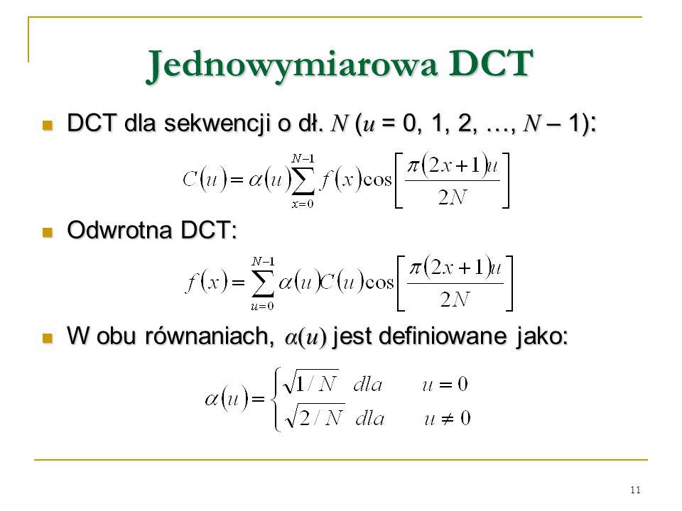 Jednowymiarowa DCT DCT dla sekwencji o dł. N (u = 0, 1, 2, …, N – 1):