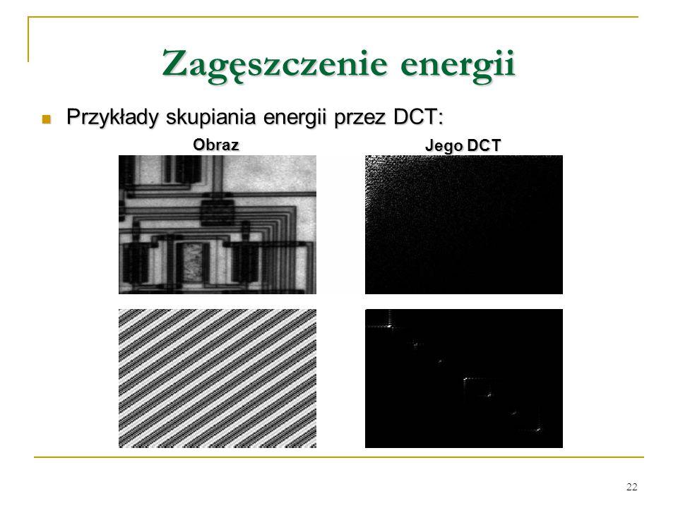 Zagęszczenie energii Przykłady skupiania energii przez DCT: Obraz