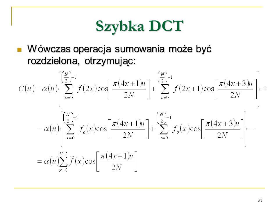 Szybka DCT Wówczas operacja sumowania może być rozdzielona, otrzymując: