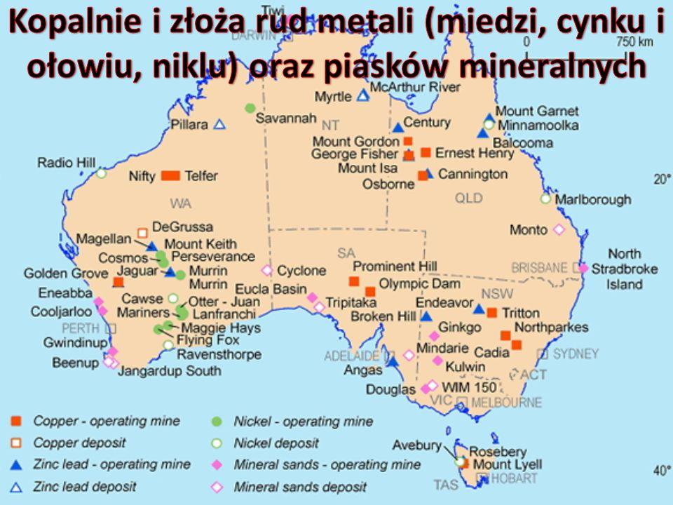 Kopalnie i złoża rud metali (miedzi, cynku i ołowiu, niklu) oraz piasków mineralnych