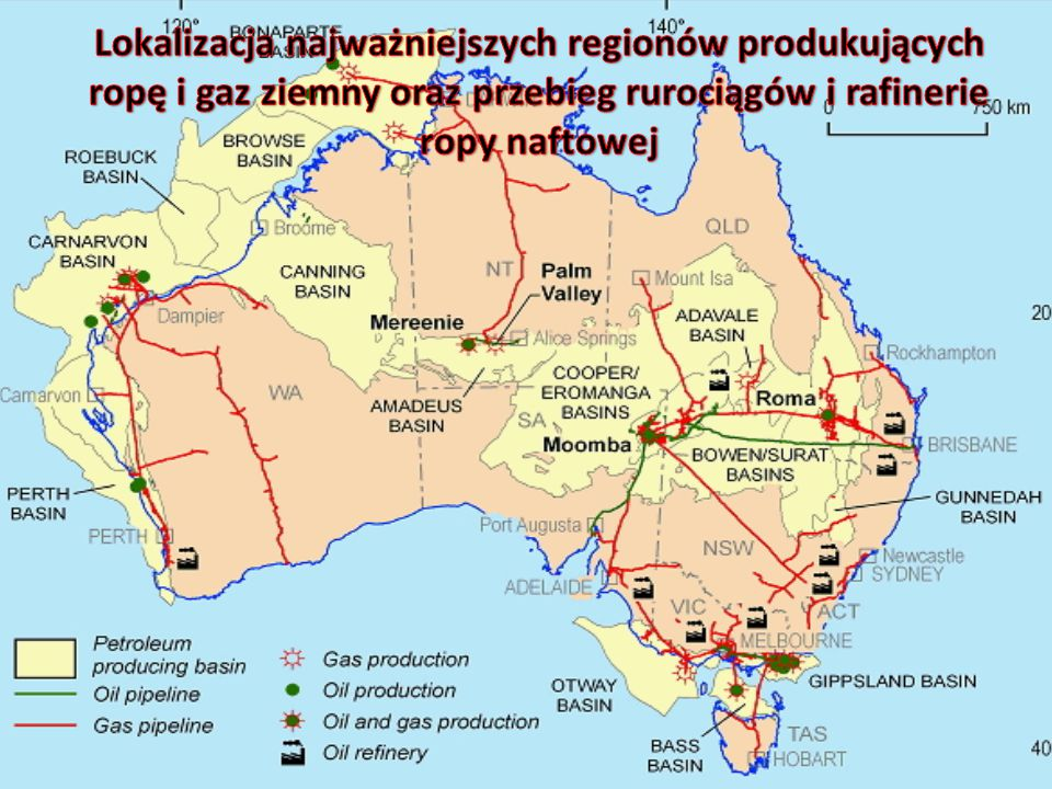 Lokalizacja najważniejszych regionów produkujących ropę i gaz ziemny oraz przebieg rurociągów i rafinerie ropy naftowej