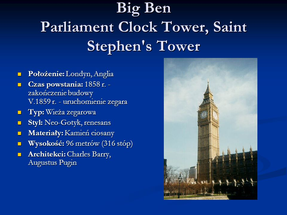 Big Ben Parliament Clock Tower, Saint Stephen s Tower