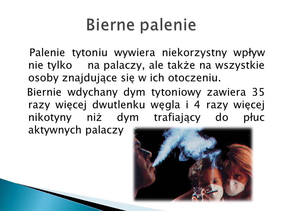 Bierne palenie Palenie tytoniu wywiera niekorzystny wpływ nie tylko na palaczy, ale także na wszystkie osoby znajdujące się w ich otoczeniu.