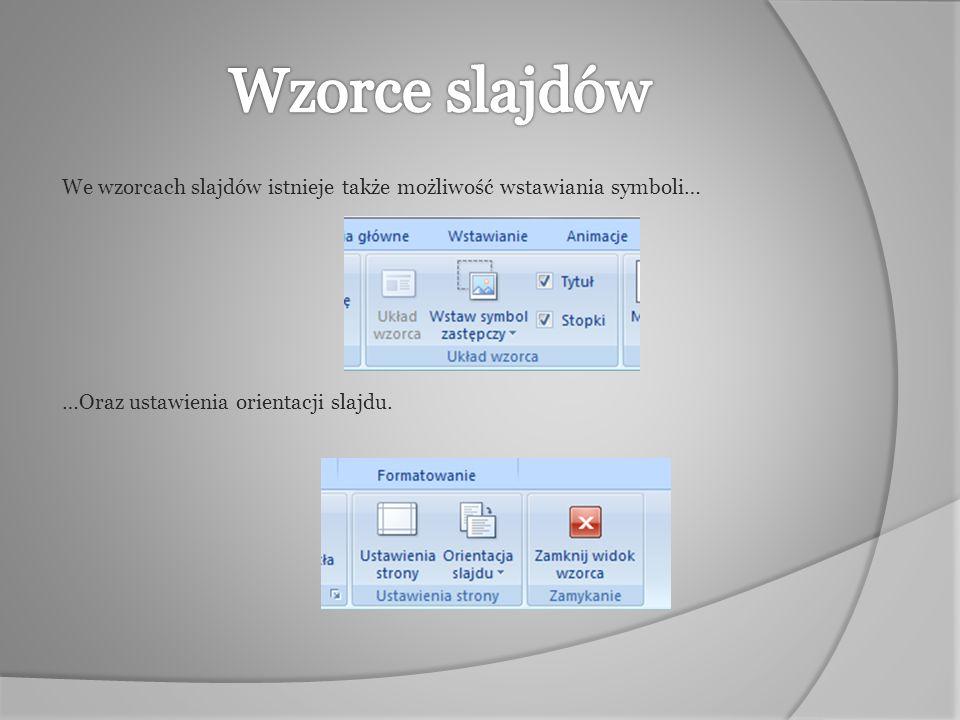 Wzorce slajdów We wzorcach slajdów istnieje także możliwość wstawiania symboli… …Oraz ustawienia orientacji slajdu.