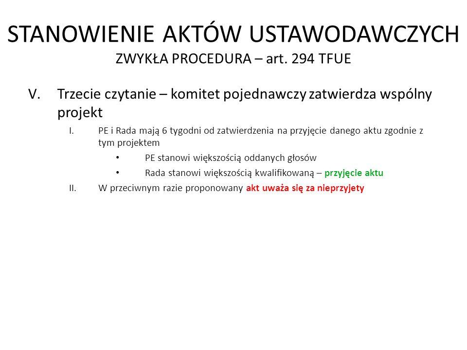 STANOWIENIE AKTÓW USTAWODAWCZYCH ZWYKŁA PROCEDURA – art. 294 TFUE