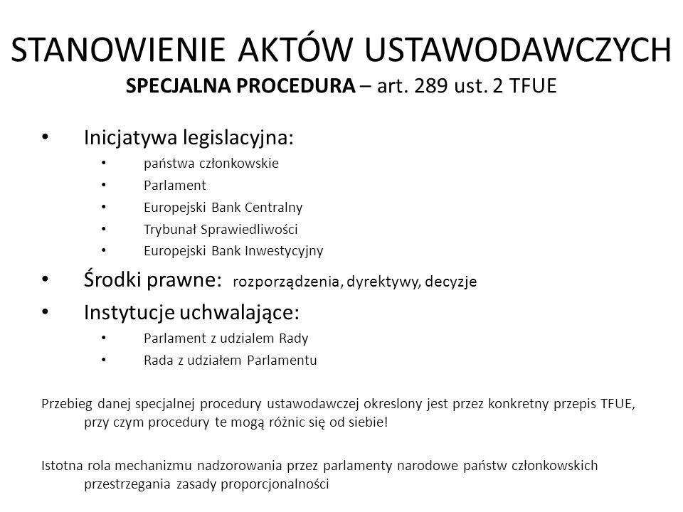 STANOWIENIE AKTÓW USTAWODAWCZYCH SPECJALNA PROCEDURA – art. 289 ust
