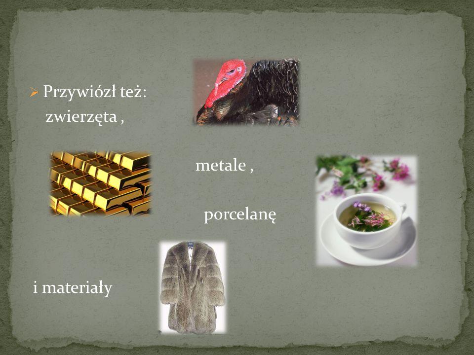 Przywiózł też: zwierzęta , metale , porcelanę i materiały
