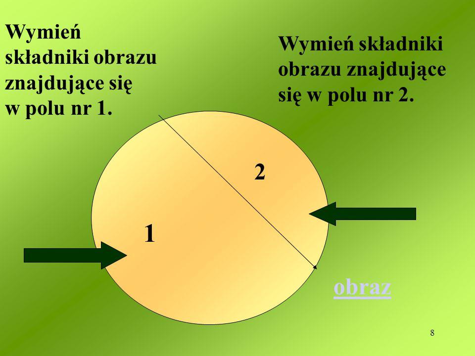 1 2 obraz Wymień składniki obrazu znajdujące się w polu nr 1.