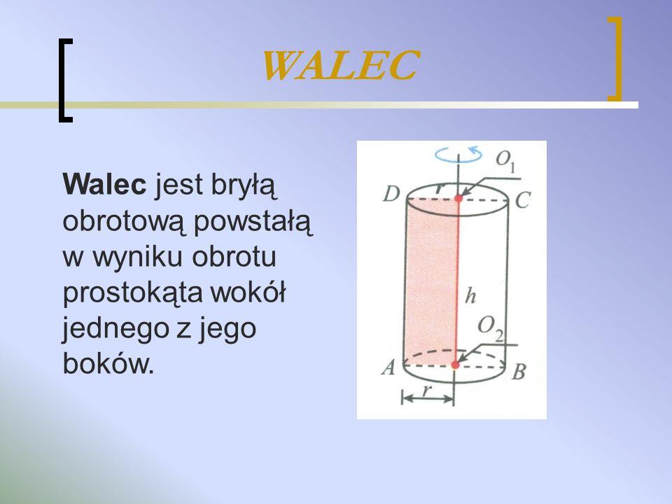 WALEC Walec jest bryłą obrotową powstałą w wyniku obrotu prostokąta wokół jednego z jego boków.