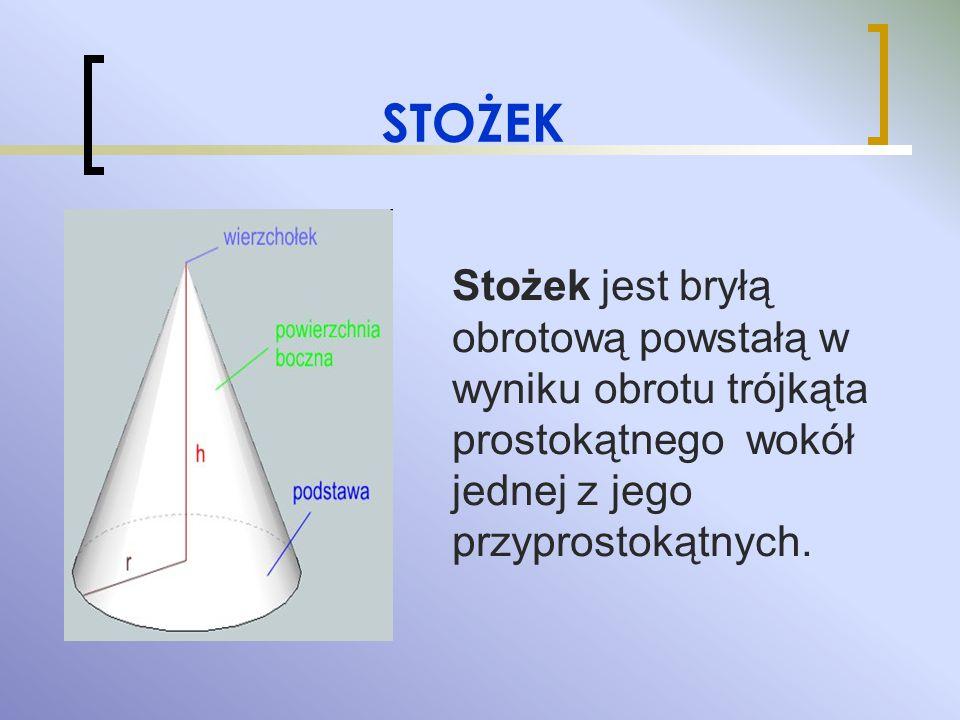 STOŻEK Stożek jest bryłą obrotową powstałą w wyniku obrotu trójkąta prostokątnego wokół jednej z jego przyprostokątnych.
