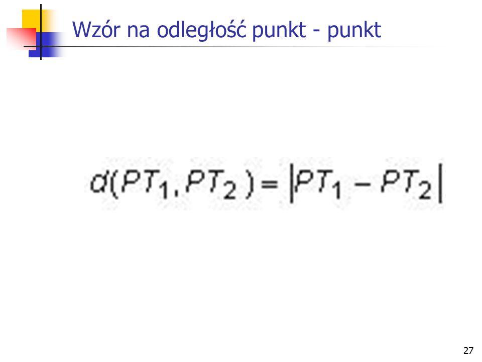 Wzór na odległość punkt - punkt