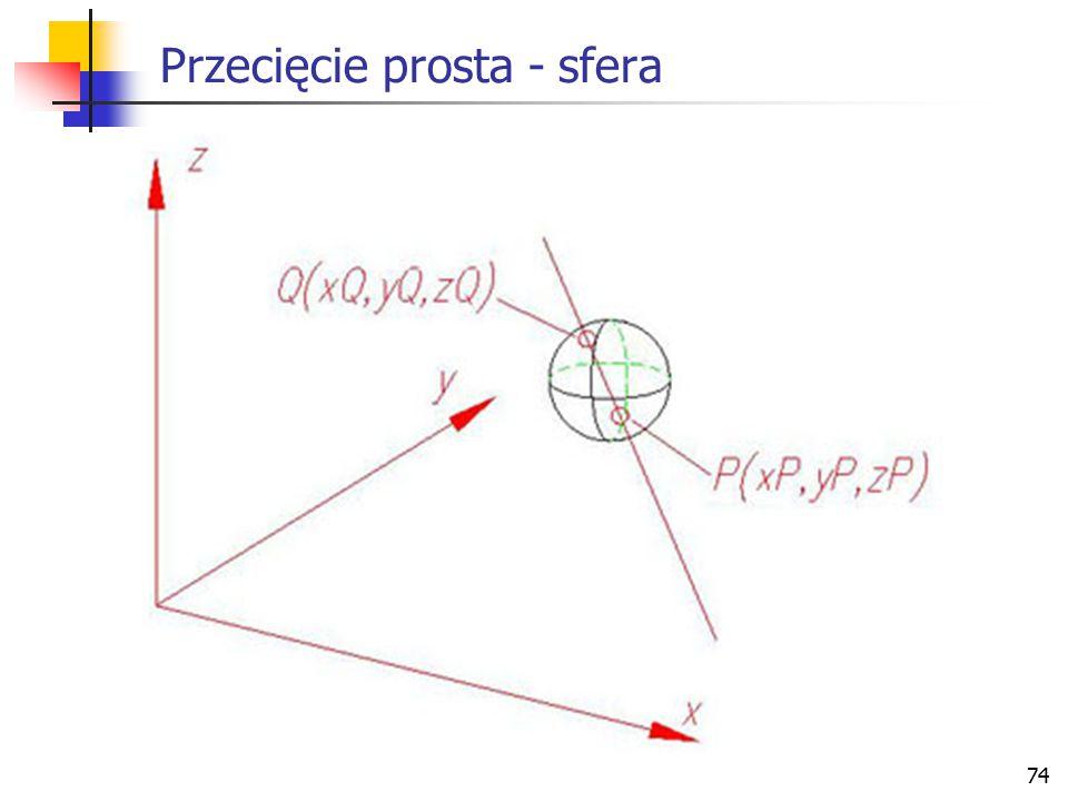 Przecięcie prosta - sfera
