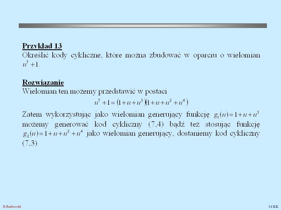 15. Kodowanie cykliczne w formie systematycznej