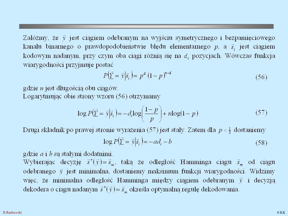 Rys.12. Logarytm funkcji wiarygodności dla kanału binarnego symetrycznego (KBS)