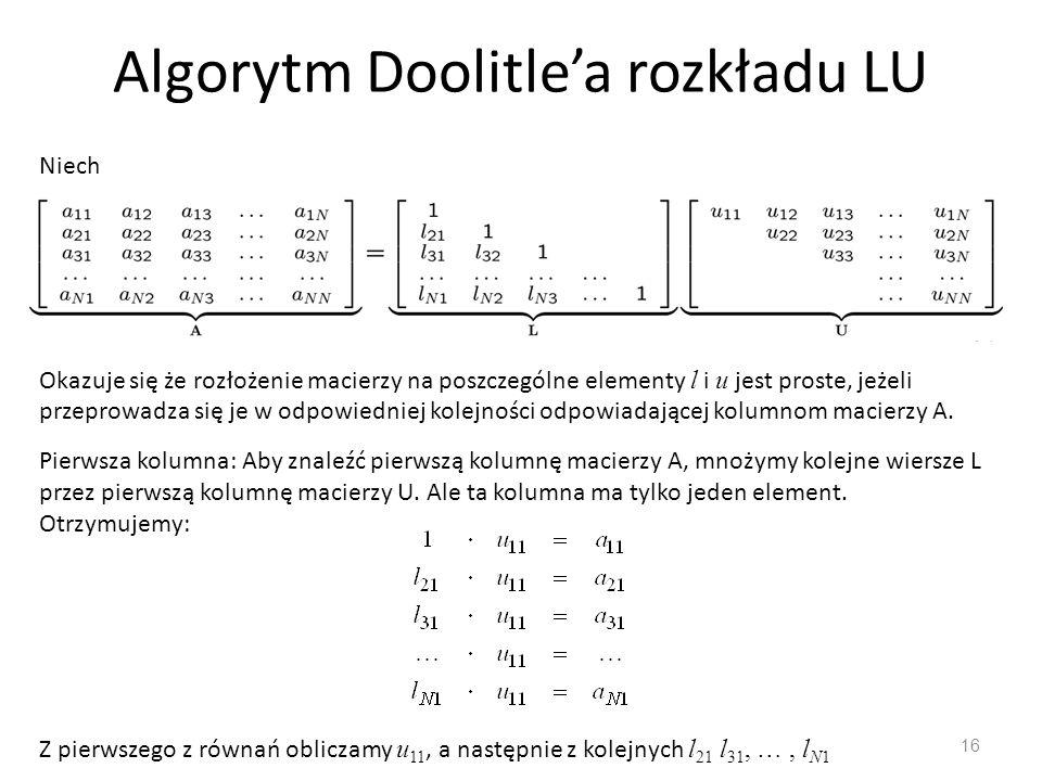 Algorytm Doolitle'a rozkładu LU