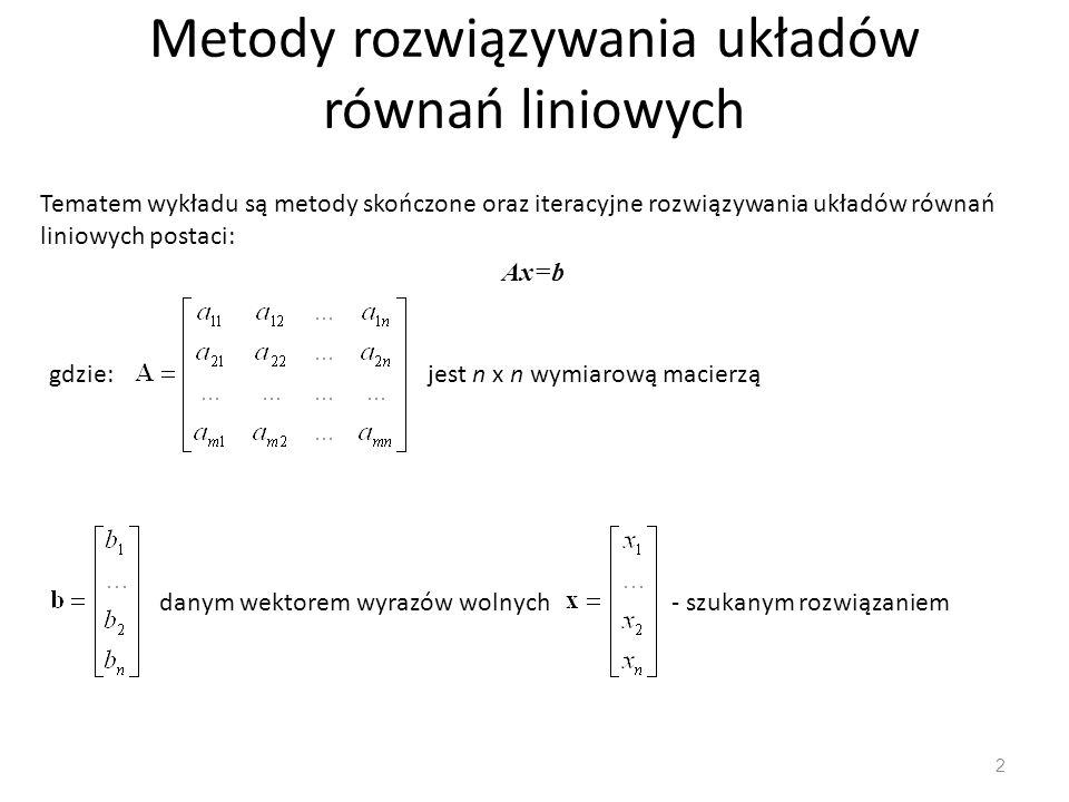 Metody rozwiązywania układów równań liniowych