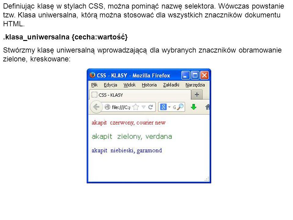 Definiując klasę w stylach CSS, można pominąć nazwę selektora