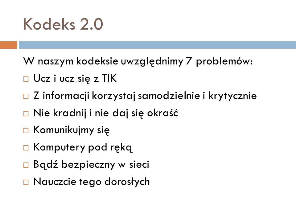 Kodeks 2.0 W naszym kodeksie uwzględnimy 7 problemów: