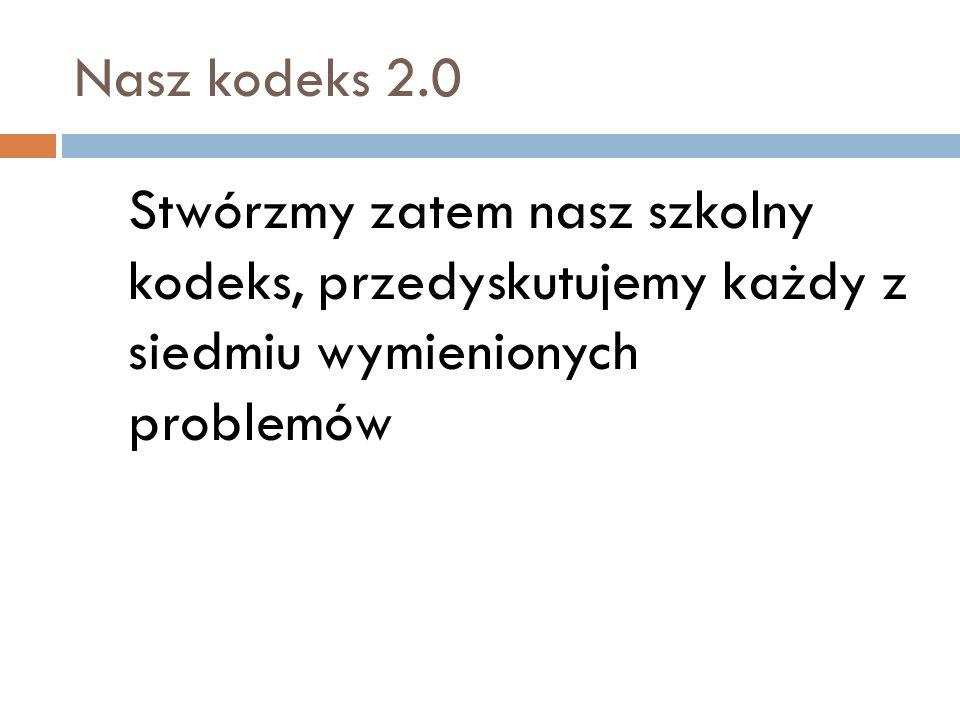 Nasz kodeks 2.0 Stwórzmy zatem nasz szkolny kodeks, przedyskutujemy każdy z siedmiu wymienionych problemów.