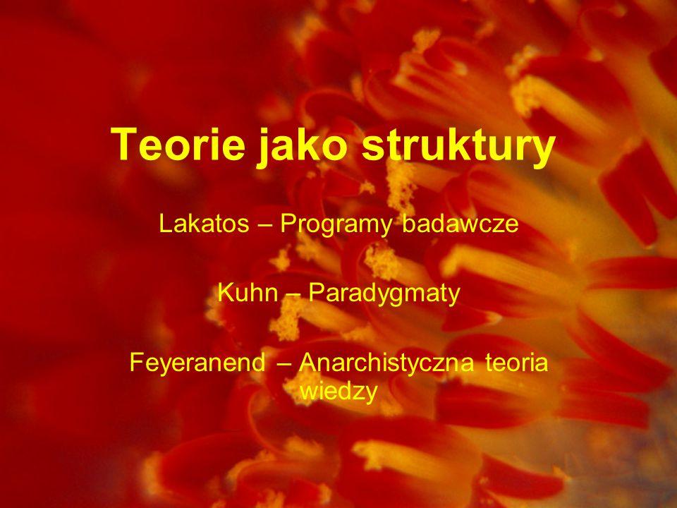 Teorie jako struktury Lakatos – Programy badawcze Kuhn – Paradygmaty