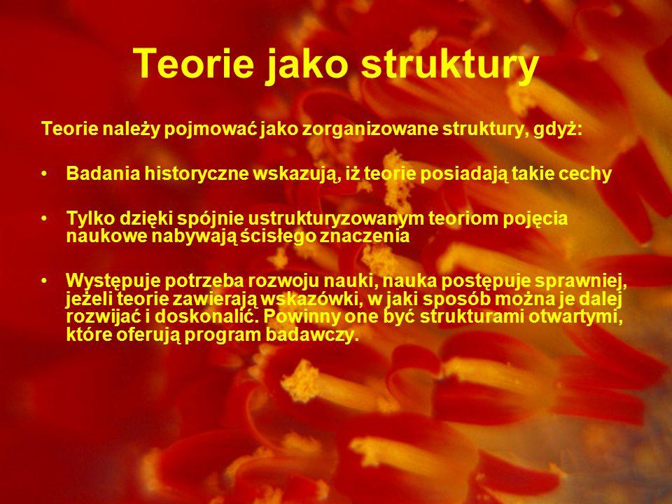 Teorie jako struktury Teorie należy pojmować jako zorganizowane struktury, gdyż: Badania historyczne wskazują, iż teorie posiadają takie cechy.