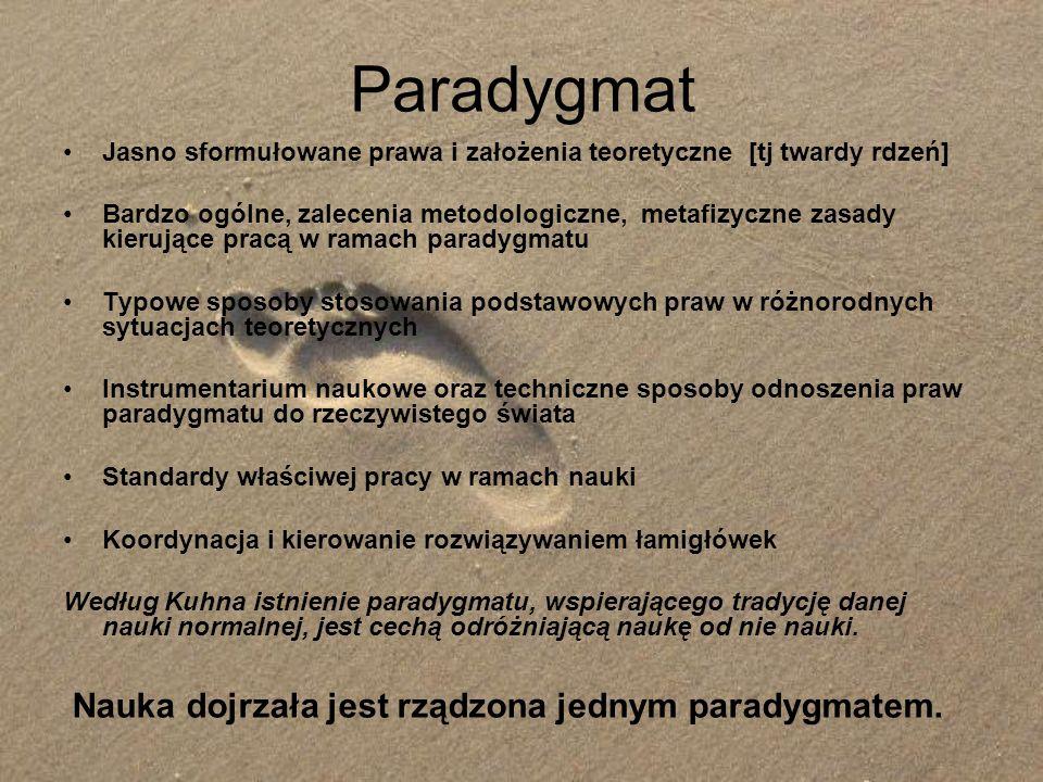 Paradygmat Nauka dojrzała jest rządzona jednym paradygmatem.