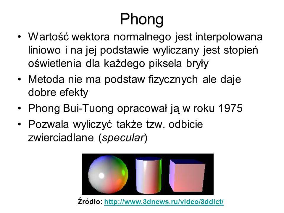 Phong Wartość wektora normalnego jest interpolowana liniowo i na jej podstawie wyliczany jest stopień oświetlenia dla każdego piksela bryły.
