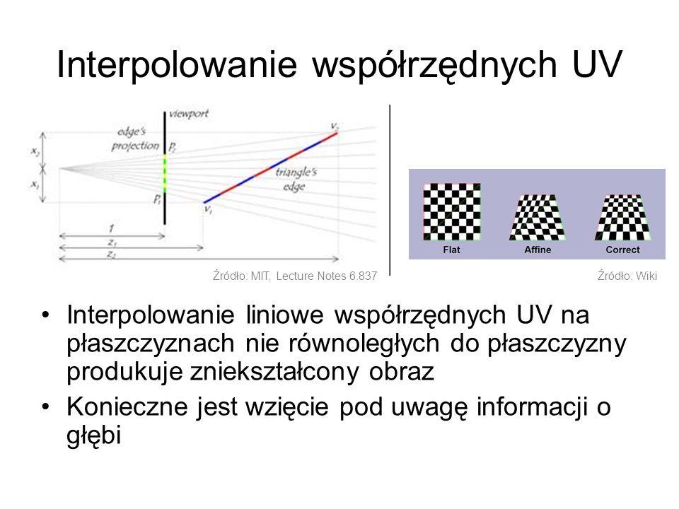 Interpolowanie współrzędnych UV