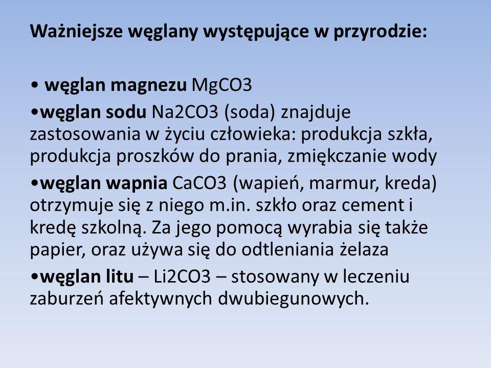 Ważniejsze węglany występujące w przyrodzie: