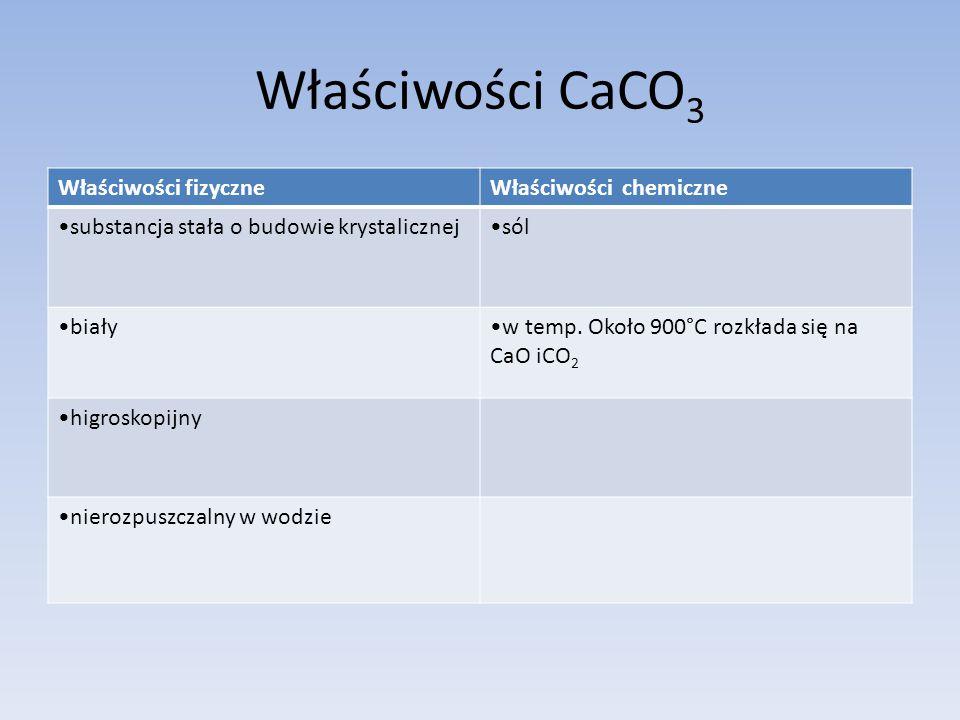 Właściwości CaCO3 Właściwości fizyczne Właściwości chemiczne
