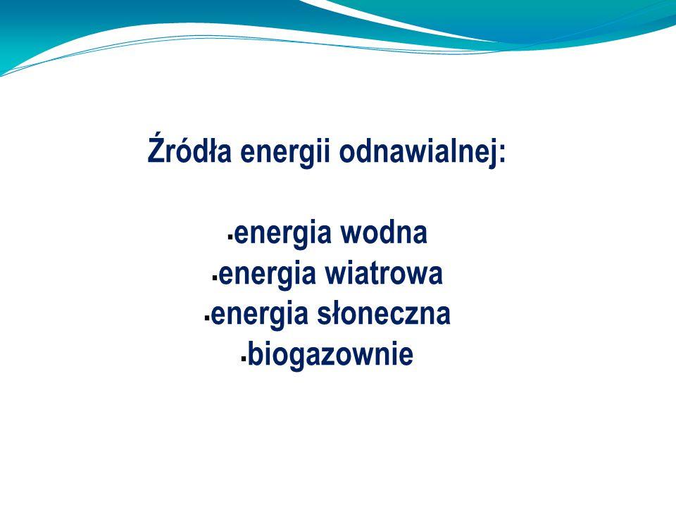 Źródła energii odnawialnej: