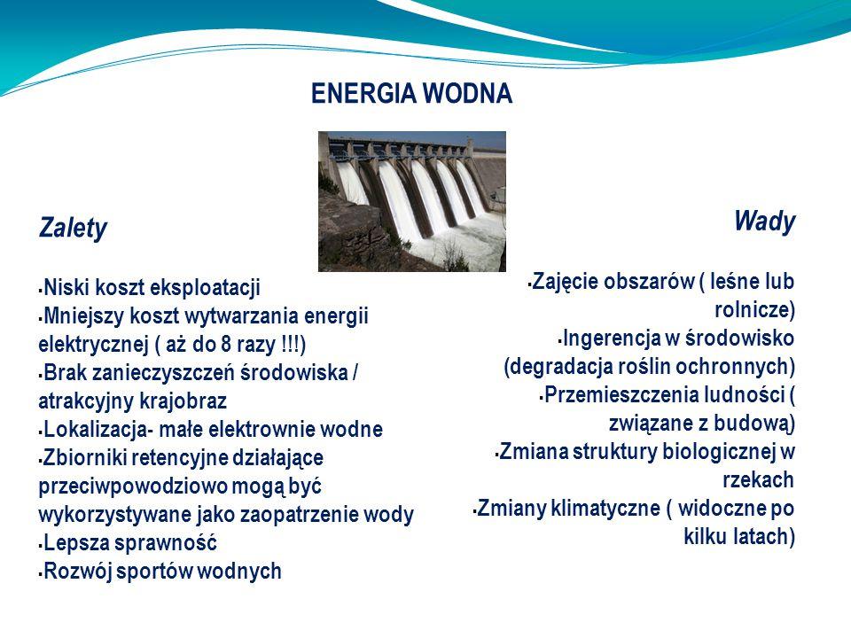 ENERGIA WODNA Wady Zalety Zajęcie obszarów ( leśne lub rolnicze)