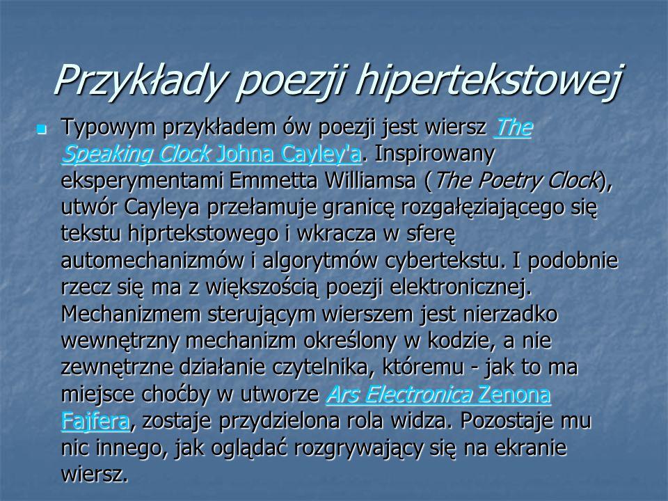 Przykłady poezji hipertekstowej