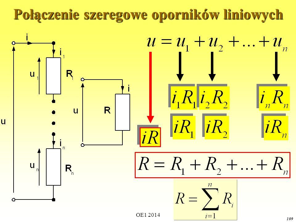 Połączenie szeregowe oporników liniowych