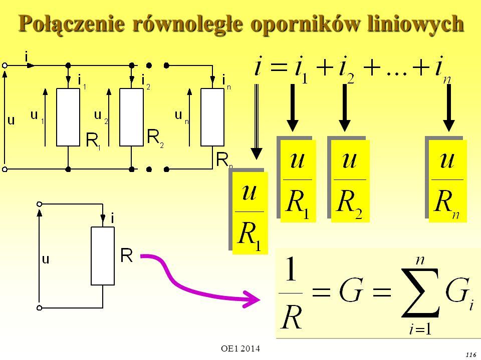 Połączenie równoległe oporników liniowych