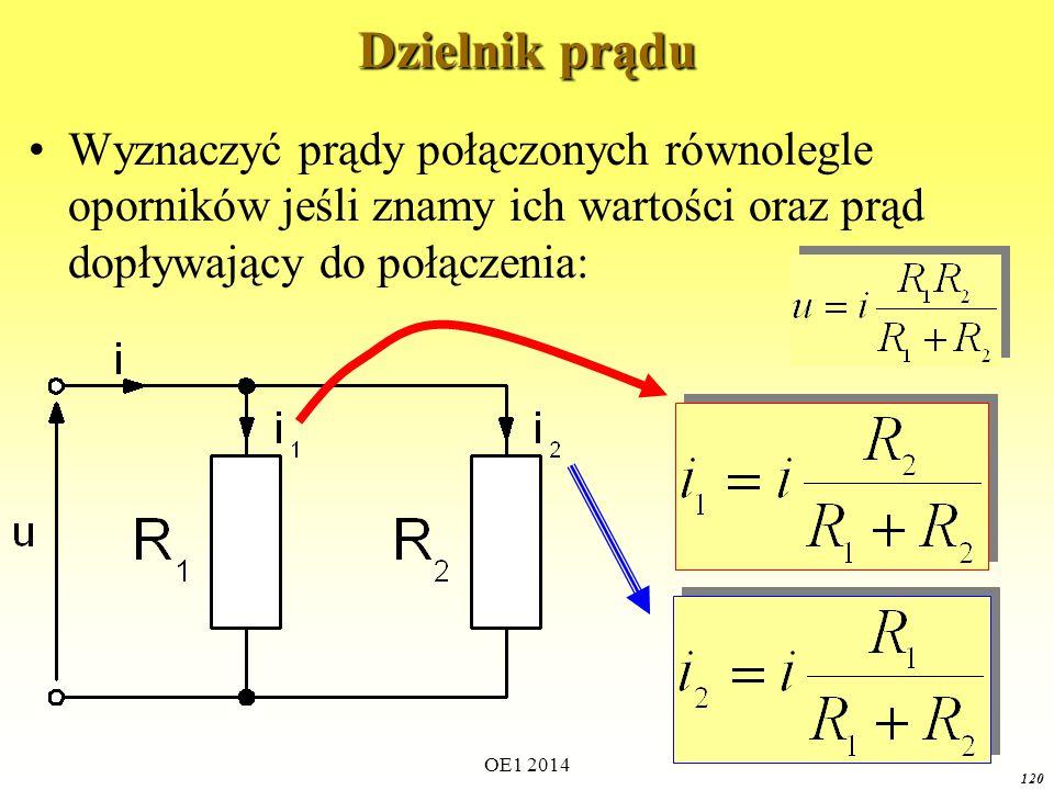 Dzielnik prądu Wyznaczyć prądy połączonych równolegle oporników jeśli znamy ich wartości oraz prąd dopływający do połączenia: