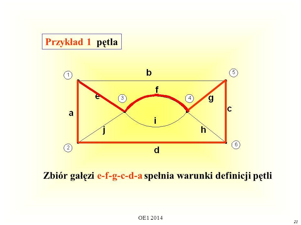 Zbiór gałęzi e-f-g-c-d-a spełnia warunki definicji pętli